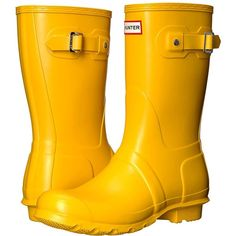 Hunter Original Short (Yellow 1) Women's Rain Boots ($140) ❤ liked on Polyvore featuring shoes, boots, rubber boots, yellow rubber boots, platform ankle boots, wellington boots and platform boots