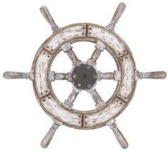 Weißes Deko Steuerrad im Shabby Chic Stil. Eine tolle Deko für eine maritime Atmosphäre. Das Steuerrad hat einen Durchmesser von 60 cm (von Griff zu Griff).