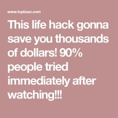 This life hack gonna save you thousands of dollars! 90% people tried immediately after watching!!!