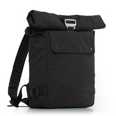 """Our Backpack gets you moving in style. Roll the top up, or fold it over depending on your mood. The ergonomic shoulder straps contour around the neck to fit just right on the body. Styled with custom aluminum carabiners and quick-release thumb levers, creating a custom fit is virtually effortless. Fits up a 17"""" Macbook."""