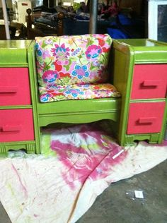 Old Vanity now bench with storage on the sides.  Great kids room idea!