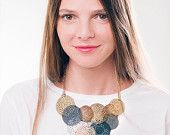 coin necklace, gold plated necklace, Rosette interlace mix color Necklace