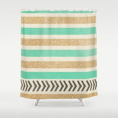 MINT AND GOLD STRIPES AND ARROWS Shower Curtain