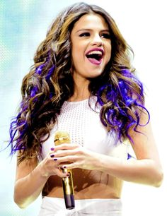 selena gomez with blue/puple in the bottom of the hair