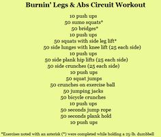 Crazy legs and abs circuit