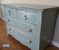 dresser that started out plain and ended up blue, with vintage teardrop pulls to doll things up too. And I love the look of the layers and layers of paint peeking through.