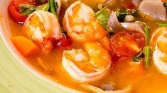 Thai Recipes, Asian Recipes, Thai Food Dishes, Thai Soup, Yams, What To Cook, Thai Red Curry, Shrimp, Stuffed Peppers