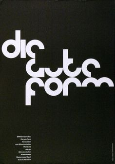 A 1964 piece of graphic design by Armin Hofmann. The colour scheme is just black and white, which I think compliments the unorthodox round-like font. The style of writing being placed together in a certain way to suggest a pattern is brilliant. For me, it projects quite a professional feel.
