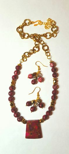 Red and gold necklace BethExpressions.etsy.com
