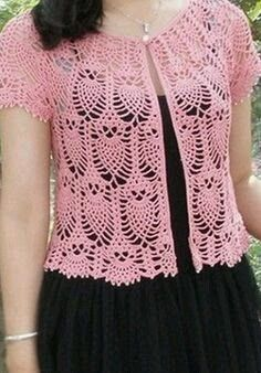 To link openwork jacket Crochet patterns free: Vest in crochet with an easy pattern. and tips for a beautiful job in yarn. Belero & A lot of ideas and free instructions for knitting and crochet in Russian Summer Pineapple Cardi in crochet with charts only Gilet Crochet, Crochet Vest Pattern, Crochet Jacket, Crochet Cardigan, Crochet Shawl, Knit Crochet, Crochet Patterns, Crochet Gratis, Crochet Tops