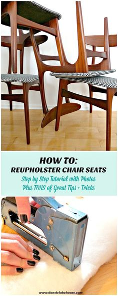 How to Reupholster Dining Chairs - a Step by Step DIY Upholstery Tutorial with Tips for Getting the Fabric Taught and Dealing with Tricky Corners // DIY Houndstooth Upholstered Vintage Teak Chairs