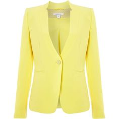 Marella Dionne long sleeved button detail blazer ($185) ❤ liked on Polyvore featuring outerwear, jackets, blazers, coats & jackets, tops, lemon, sale, button jacket, yellow jacket and yellow blazer jacket