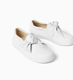 Shop Kids' Zara White size Shoes at a discounted price at Poshmark. white knot gives extra interest. can fit woman size to Sold by fashiongoodies. Sock Shoes, Kid Shoes, Girls Shoes, Girls Sneakers, Sneakers Fashion, Fashion Shoes, Pretty Shoes, Cute Shoes, Korean Shoes