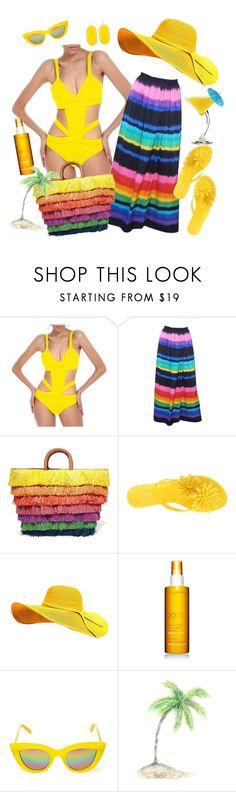 """Sunny...with a chance of yellow"" by dobesht ❤ liked on Polyvore featuring Lea Gottlieb, Kayu, Melissa, Kendra Scott, TIKI, Clarins and Quay"