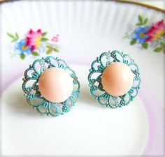 Vintage Filigree Earrings Peach Pink Apricot Earring Post by Jewelsalem on Etsy, $8.89