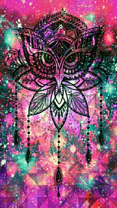 Tribal Owl galaxy iPhone/Android wallpaper I created for the app CocoPPa.