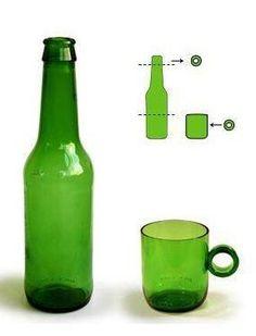 1 Mojas un hilo de algodón en alcohol 2) Atas el hilo alrededor de la botella a la medida que quieras q se haga el corte, el hilo sobrante cortalo bien al ras del nudo ( el corte se hace 1cm. por arriba de tu marca 3) Enciendes el hilo con encendedor y dejas que se consuma todo el alcohol y q el hilo se ponga negro. 4) Sumerge inmediatamente la botella en un balde hondo lleno de agua fría (en forma invertida si quieres usar la parte de abajo de la botella), escuchas un ruido y listo.