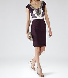 Lianora Berry/deep Amethyst Embellished Dress - REISS