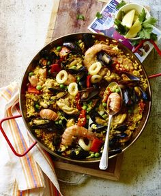 My latest book Paella and other Spanish rice dishes published by Ryland Peters & Small explores paella and more than 30 other delicious rice dishes. Spanish Paella, Spanish Rice, Seafood Recipes, Pasta Recipes, Cooking Recipes, Seafood Paella, Paella Food, Creamy Rice, Anniversary Dinner