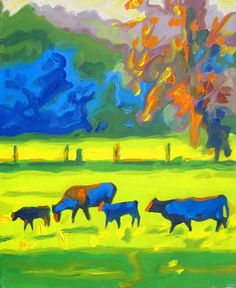 """Saatchi Art Artist Bertram Poole; Painting, """"Cows in a Field at Sunset"""" #art"""