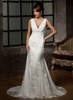 1c08cd9e65e8 Mermaid V-neck Court Train Chiffon Charmeuse Lace Wedding Dresses With  Ruffle Lace - JenJenHouse