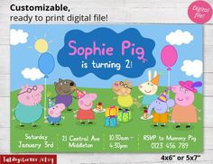 Nice FREE Template Printable Peppa Pig Invitation Birthday