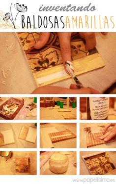 La técnica transfer permitetransferir la tinta de la imagen de un papel para que quede impresa de manera artesanal en objetos de decoración, cajas de madera, muebles… usando un gel especial (medium) que hace que se desprenda y fije la tinta. Podríamos por ejemplo usar la impresora normal decasa para imprimir una fotografía y estamparla sobre una caja de madera para personalizarla. Durante el fin de semana pasado se celebró el DIY Show, donde tuve la suerte de asistir a bastantes talleres…