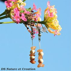 www.etsy.com/shop/DSNatureetCreation Bohemian jewelry gemstone, bohemian earrings gemstone, sunstone jewelry, sunstone earrings, wood earrings, wood jewelry, healing gemstone