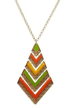 Long green, orange and yellow necklace