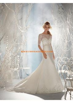 New A-Line Wedding Dress: Sophisticated Beaded and Embroidered Tulle Over Satin A-Line Gown with Illusion Formal Dresses For Weddings, Wedding Dresses For Sale, Wedding Dress Shopping, Bridal Dresses, Wedding Gowns, Formal Wedding, Best Cocktail Dresses, Sophisticated Dress, A Line Gown