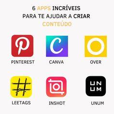 """Am Art Studio on Instagram: """"Crie conteúdos incríveis e profissionais utilizando esses 6 apps GRATUITOS! . . 👉🏻 Pinterest: pesquise tópicos e assuntos que a sua…"""" Apps, Logos, Instagram, Social Media, Logo, App, Appliques"""