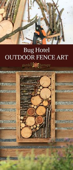Bug hotel outdoor fence art - Natural and found elements such as branches, seed heads, bamboo, and moss are set in a wooden frame as four-season art. With materials collected from the garden it looks right at home!