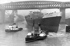Tugs move in to take hold of the ship Victoria City after the launch at William Doxford and Sons shipyard on the River Wear at Sunderland Sunderland City, Sport Bar Design, Destination Branding, Victoria City, Marine Engineering, Victorian Buildings, Merchant Navy, Fishing Photography, North East England