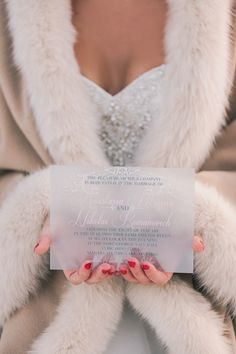 Lucite Wedding Invitation by Defining Moments Stationery :: Photography… Wedding Fur, Fantasy Wedding, Wedding Goals, Dress Wedding, Wedding Things, Wedding Stuff, Wedding Stationary, Wedding Invitations, Russian Winter