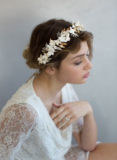 bridal headpiece, clay flower headband, handmade clay flowers, wedding headpiece, nature inspired, twigs and honey