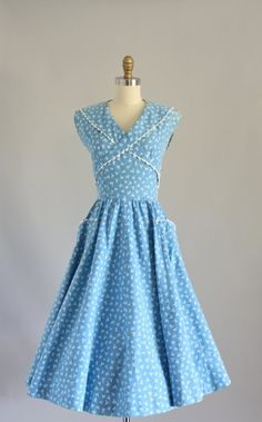 Vintage 50s Dress/ 1950s Cotton Dress/ Blue by WhenDecadesCollide