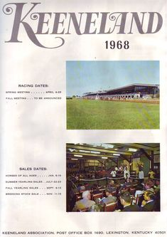 1968 ad for Keeneland. I love Keeneland.