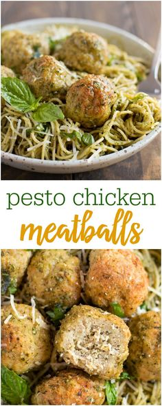 Pesto Chicken Meatballs - homemade meatballs that are so juicy, delicious and perfect for your next meal!