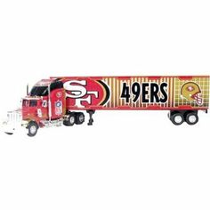 """SAN FRANCISCO 49ERS NFL 2005 Semi Diecast Peterbilt Tractor Trailer Truck 1/80 Scale By Fleer Collectible by NFL. $18.99. GREAT LOOKING TRUCK FOR THE SPECAIL 49ERS FANS - Item #132313711837 BY SELLSOLUTIONS also has Many other 49ers Items for you to View. NFL OFFICIALLY LICENSED ITEM - COMES IN THE ORIGINAL BOX- BOX DOES HAVE SOME WEAR BUT TRUCK IS IN VERY GOOD SHAPE!!!!. 1:80 SCALE AND APPROX 10"""". FROM FLEER TEAM COLLECTIBLES - LIMITED EDITION. SAN FRANCISCO 49ERS NFL Semi D..."""