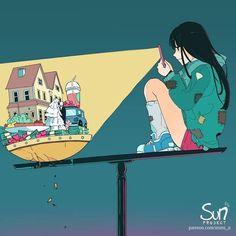 Dark Art Illustrations, Illustration Art, Sad Anime, Anime Art, Dessin Old School, Image Triste, Sun Projects, Deep Art, Arte Obscura