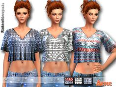 The Sims Resource: Aztec Tops by Pinkzombiecupcake • Sims 4 Downloads
