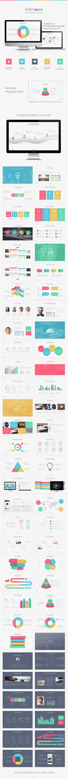 Robo is very useful, creative, clean, multi-purpose Business Presentation Template. You can use our presentation with; Corporate, Creative, Organization, Company and more presentations. Our template is very easy to customize! Robo has many info graphics which made by only Powerpoint, no other application needed! http://graphicriver.net/item/robo-powerpoint-presentation-template/creativetouch
