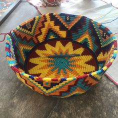 Tapestry Crochet, Laundry Basket, Wicker, Blue Green, Baskets, Handmade, Diy, Bags, Decor