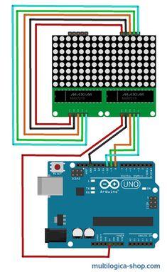 Módulo controlador de matriz de LED MAX7219 - fritzing