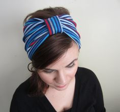 Striped Turban Headband  Blue and Red Stripes by CatStitchClothing, $10.50
