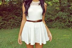 Cute white dress (: outfit inspiration