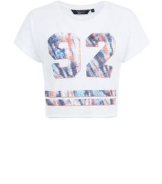 Teens White Baseball Tie Dye 92 Crop Top
