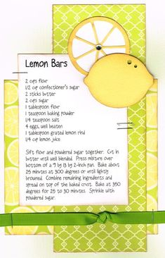 Lemon Bars Paper Cottage: Recipe Kit of the Week - Fixate Cookbook, Making A Cookbook, Homemade Cookbook, Cookbook Recipes, Cookbook Ideas, Cookbook Display, Cookbook Storage, Cookbook Design, Cookie Recipes