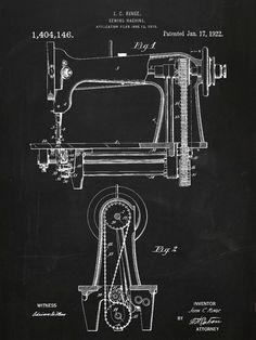 Sewing Machine Patent Poster Original 1918 by PastTensePosters