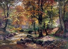 Waldlandschaft Mit Rehen oil painting by Heinrich Bohmer, The highest quality oil painting reproductions and great customer service! Watercolor Landscape, Landscape Art, Landscape Paintings, Landscape Photography, Watercolor Paintings, Oil Paintings, Pictures To Paint, Art Pictures, Autumn Scenes